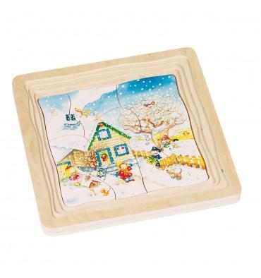 Goki Houten 4-Lagen Puzzel Seizoenen 54 Stuks