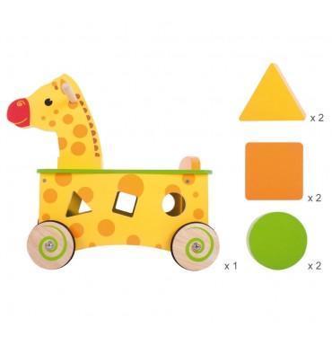 Bigjigs Houten Loop en Sorteerwagen Giraffe
