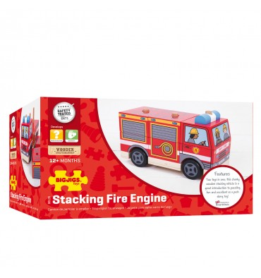 Bigjigs Houten Stapelspel brandweerwagen