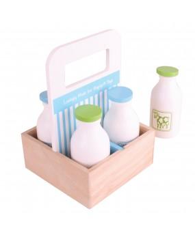Bigjigs Houten kistje met melkflessen 5 delig