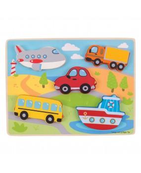 Bigjigs Houten puzzel voertuigen