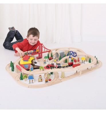Bigjigs Houten treinset in houten kist 130 delig