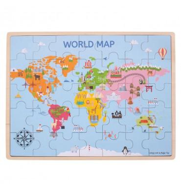 Bigjigs Houten wereldkaart Puzzel