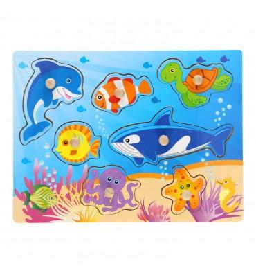 Houten Noppenpuzzel onderwaterwereld