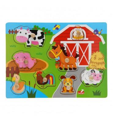 Houten noppenpuzzel boerderij