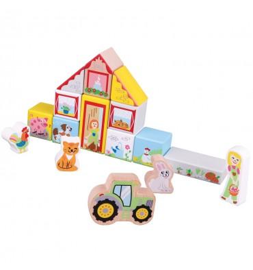New Classic Toys houten boerderij bouwblokken