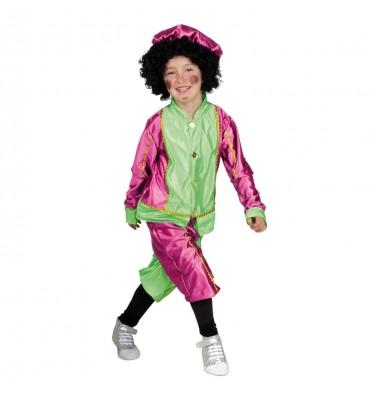 Sinterklaas Pieten Kostuum 4-6 Jaar Roze/groen