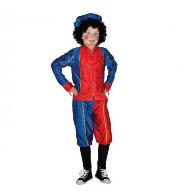 Sinterklaas Pieten Kostuum 7-9 Jaar Rood Blauw