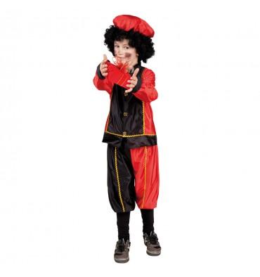 Sinterklaas Pieten Kostuum 7-9 Jaar Zwart Rood