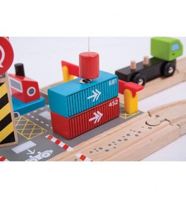 Bigjigs Houten Rails Container Scheepswerf