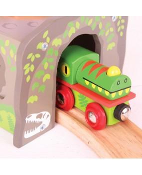 Bigjigs Houten Tunnel T-Rex Dinosaurus