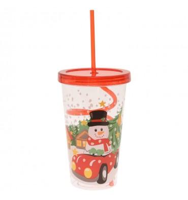 Drinkbeker met Gekruld Rietje - Kerst