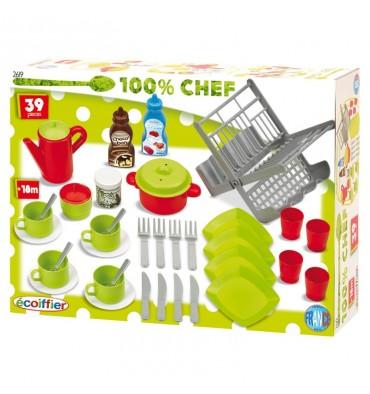 Ecoiffier 100% Chef Servies, 39dlg.