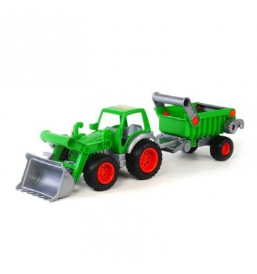 Polesie Tractor met Voorlader en Trailer