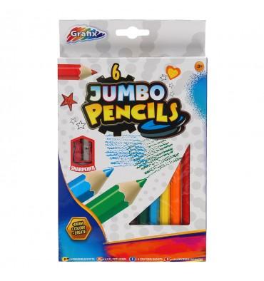Jumbo Potloden 6 stuks (+puntenslijper)