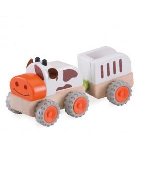 Wonderworld Houten Tractor met Aanhanger