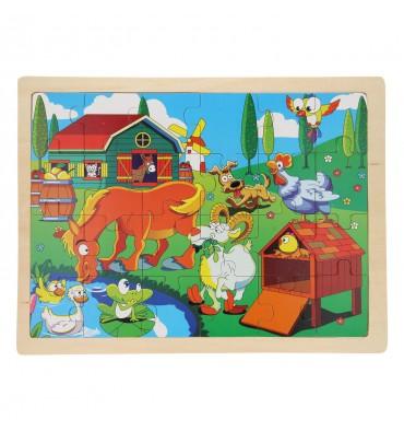 Houten Puzzel - Op de Boerderij, 24 stukjes